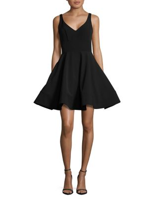 V-Neck Fit and Flare Dress by Xscape