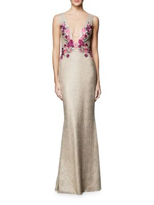 Floral Embellished Sleeveless Dress by Marchesa Notte