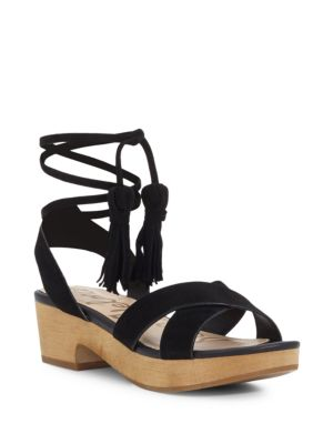 Jenna Leather Ankle Wrap Sandals by Sam Edelman