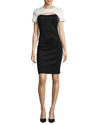 Colorblocked Cutout Sheath Dress by Calvin Klein