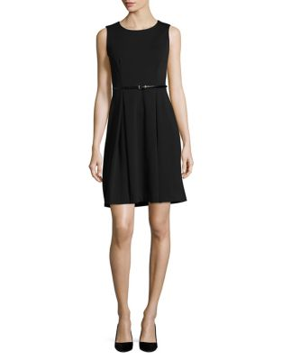 Pleated Roundneck Dress by Calvin Klein
