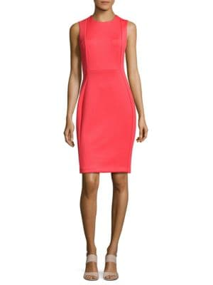 Solid Seamed Sheath Dress by Calvin Klein