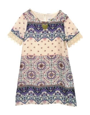 Girls Printed Gauze Shift Dress