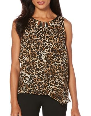Petite Animal Print Embellished Top 500087175465