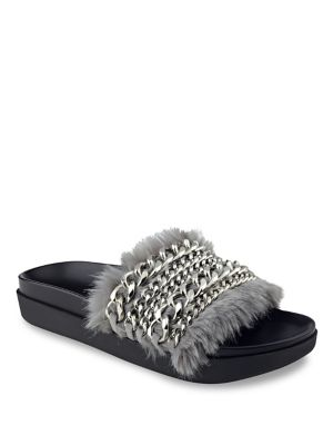Sammy Chain & Faux Fur Pool Slides by KENDALL + KYLIE