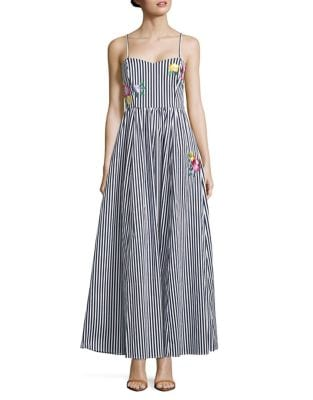 Floral Embroidered Striped Gown by Belle Badgley Mischka