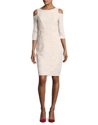 Cold Shoulder Lace Sheath Dress by Eliza J
