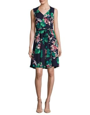 Floral Fit-and-Flare Dress by Tahari Arthur S. Levine