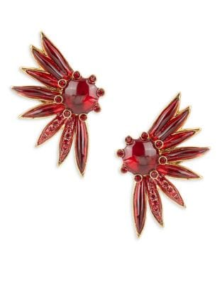 Floral Stone-Accented Clip-On Earrings 500087178206