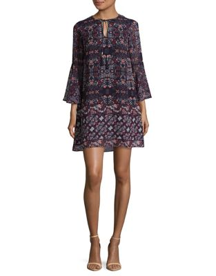 Patterned Bell-Sleeve Shift Dress by Vince Camuto
