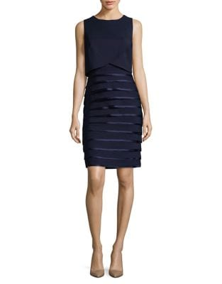 Pleated Sleeveless Sheath Dress by Phase Eight
