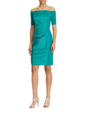Off-the-Shoulder Satin Sheath Dress by Lauren Ralph Lauren