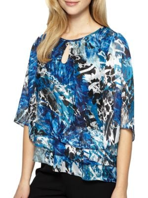 Plus Tiered Keyhole Blouse by Alex Evenings