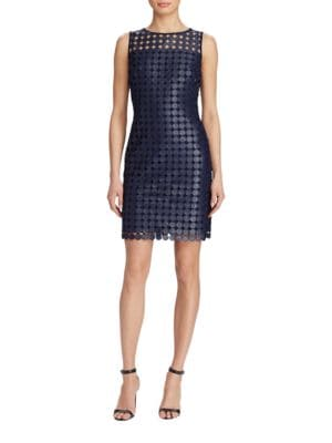 Metallic Geometric Lace Sheath Dress by Lauren Ralph Lauren