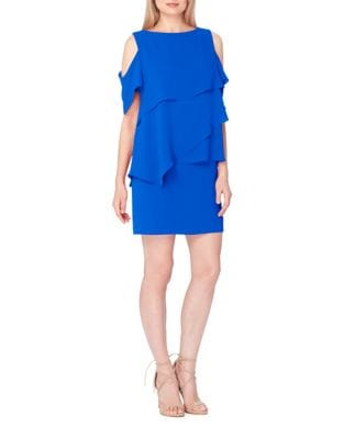 Petite Cold Shoulder Tiered Dress by Tahari Arthur S. Levine