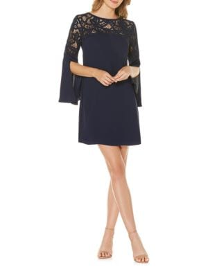 Lace Yoke Crepe Dress by Laundry by Shelli Segal