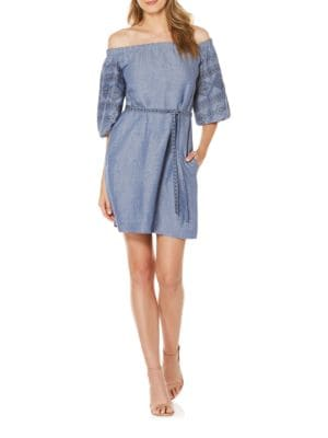 Embroidered Off-the-Shoulder Chambray Dress by Laundry by Shelli Segal