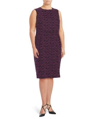 Plus Patterned Sheath Dress by Calvin Klein