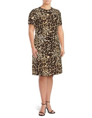 Plus Leopard Print Short Sleeved Dress by Calvin Klein