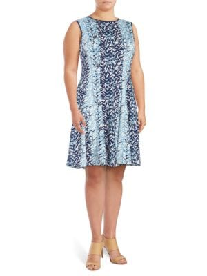 Plus Printed Sleeveless Dress by Gabby Skye
