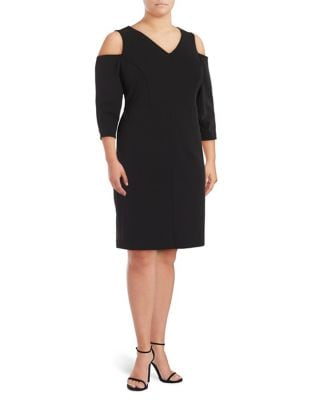Plus V-Neck Cold Shoulder Dress by Eliza J