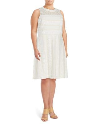 Plus Fit-and-Flare Sleeveless Dress by London Times