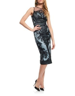 Embroidered Illusion Sheath Dress by Theia