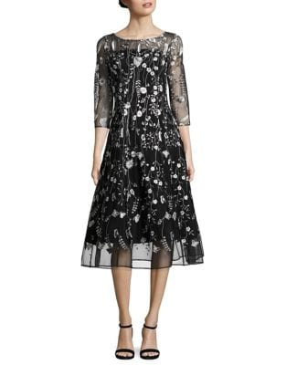 Embroidered Midi Dress by Kay Unger