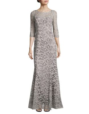 Metallic Lace Mermaid Gown by Kay Unger