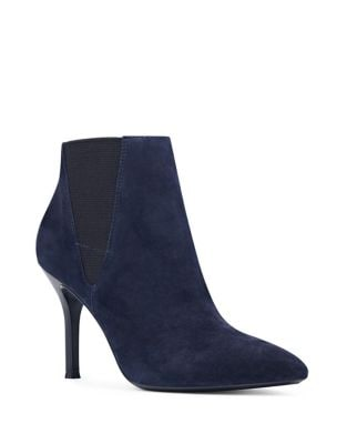 Front Isa Kid Suede Ankle Boots by Nine West