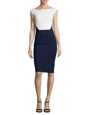Trompe lOeil Colorblocked Sheath Dress by La Petite Robe di Chiara Boni