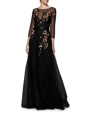 Floral Tulle Floor-Length Dress by Marchesa Notte
