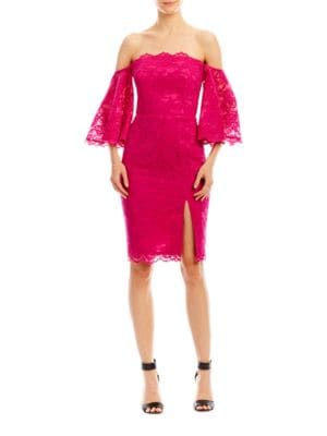 Corded Floral Lace Dress by Nicole Miller