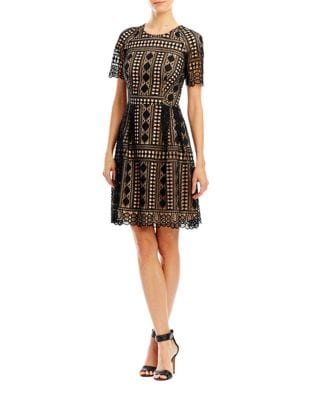 Mesh and Lace Embroidered Dress by Nicole Miller