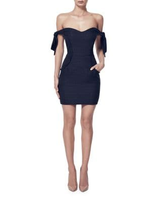 Tie Off Shoulder Bodycon Dress by Misha Collection
