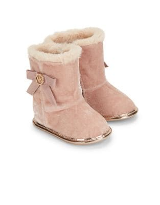 Baby Girls Faux Fur Trimmed Velvet Boots