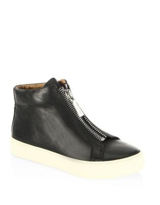 Lena Zip-Front Leather Sneakers by Frye