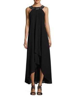 Embellished Hi-Lo Halter Gown by Belle Badgley Mischka