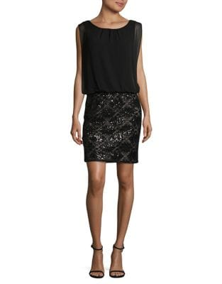Photo of Sequined Blouson Dress by Calvin Klein - shop Calvin Klein dresses sales