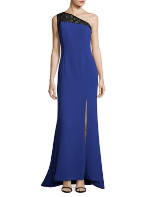 Sequined One-Shoulder Contrast Gown by Calvin Klein