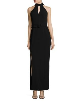 Belted Choker Gown by Calvin Klein