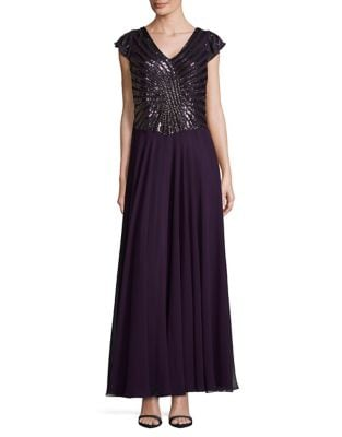 Embellished Cap Sleeve Gown by J Kara