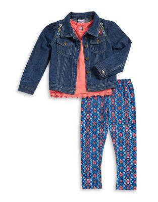 Little Girls Denim Jacket Tee and Leggings Set