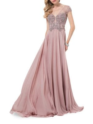 Mesh Top Floor-Length Gown by Glamour by Terani Couture