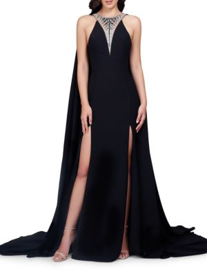 Embellished Slit Floor-Length Gown by Glamour by Terani Couture