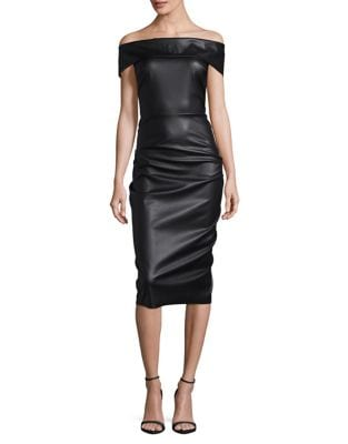 Off-the-Shoulder Faux Leather Midi Dress by Nicole Bakti