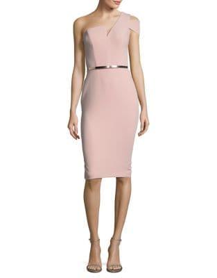Asymmetrical One Shoulder Sheath Dress by Nicole Bakti