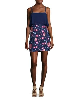 Embroidered Floral Popover Dress by Aidan Aidan Mattox
