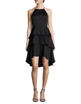 Ruffled Hi-Lo Halter Dress by Aidan Aidan Mattox