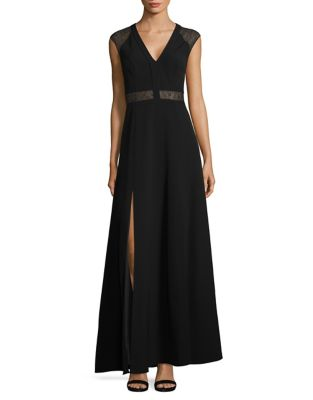 Lace-Accented Front Slit Gown by Aidan Aidan Mattox